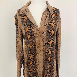 EQUIPMENT Silk sheer snake print blouse